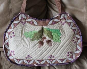 Quilted Handbag - Oak Leaves & Acorn Bag Quilt Purse