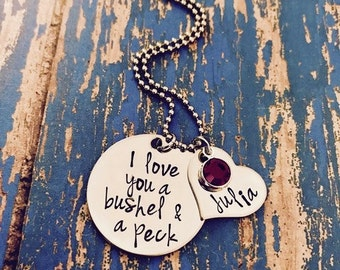 I love you a bushel and a peck Disc Necklace with Name Heart and Swarovski Crystal Birthstones - Personalized - Birthstone - Granddaughter
