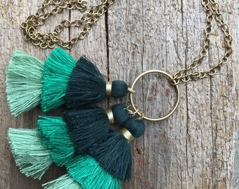 Tiered Tassel Necklace, Lawn Green