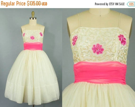 SALE 15% STOREWIDE 1950s floral chiffon party dress/ 50s sequin pink and cream cocktail dress/ small