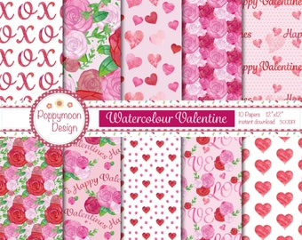 Watercolour valentine, hearts and roses,commercial and personal use, digital paper pack