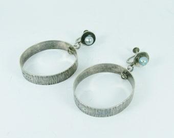 Vintage 925 Sterling Silver Pearl Hoop Screw Back Earrings
