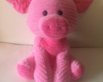 Weighted stuffed animal, pig,  3 1/4 lbs, sensory toy -