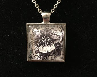 Black and White Flower glass pendant necklace