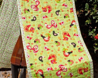Chicken-Rooster-Farm-Country-Table Runner-Table Topper-Flowers-Green-Red-Black-Orange-Home Decor-Farmhouse Decor-Country Decor