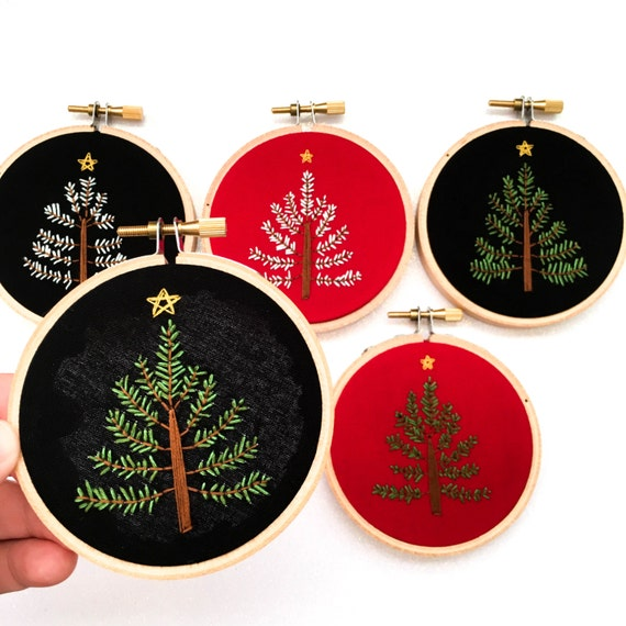 Items similar to christmas tree embroidery hoop modern