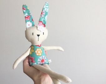 Handmade Cloth Doll Bunny Cotton Hand stitched Girl plush doll toy Baby child friendly Stuffed animal Baby shower