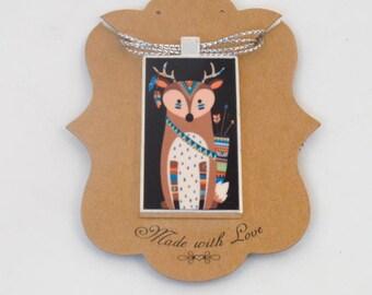 Tribal Deer Art Pendant Necklace