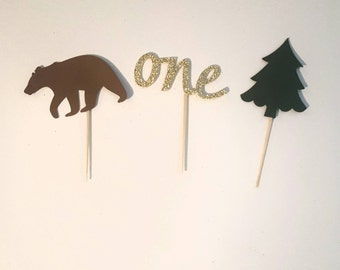 "Camping cupcake toppers 2"" to 2.5"" 12 count lumberjack party outdoors decorations"