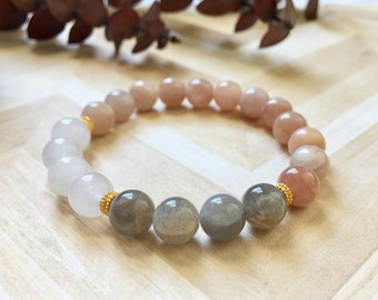 Moonstone Snow Quartz and Gold Wellness Bracelet, Healing Crystals, Gemstone Bracelets, Gifts for Her, Positive Energy, Birthday Gift Ideas