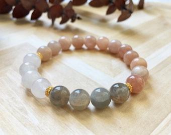 Moonstone Snow Quartz and Gold Beaded Bracelet, Healing Crystals, Healing Bracelets, Gufts for Her