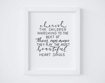 Cherish the Children    Hand lettered print