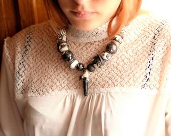 Handmade necklace polymer clay geometric design