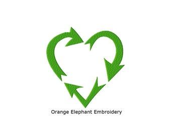 Triple Arrow Recycle Heart Unique Urban Machine Embroidery Design digital File