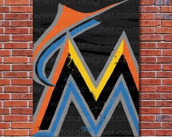 Miami Marlins Graffiti- Art Print - Perfect for Mancave