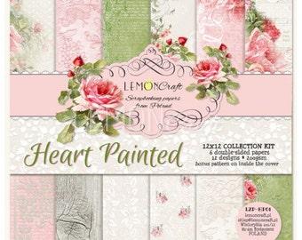 Lemoncraft Heart Painted 12x12 Designer Scrapbook Paper