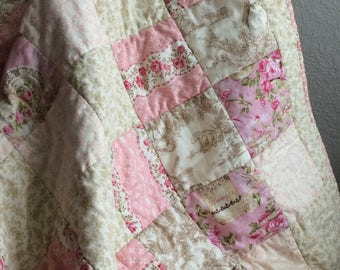 Tea and Roses Patchwork Crib Quilt