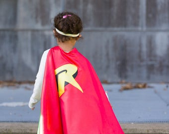 Robin Cape and Mask / Kids Cape/ kids Costumes/Toddler Birthday Party Outfit/ Boys  Capes