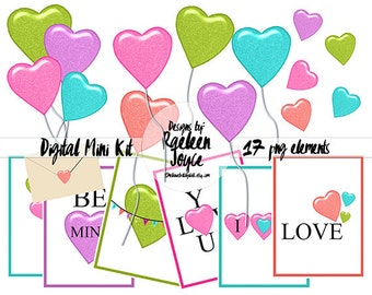 GLITTER HEARTS and BALLOONS, Clip Art, Journal Cards