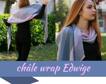 "KNITTING PATTERN pdf version to print - in french - Shawl model ""Edwige"""