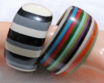 2 pc.Thick Multi Colored Striped Lucite Bangle Bracelets