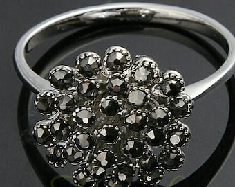 Platinum plated plated black flower ring