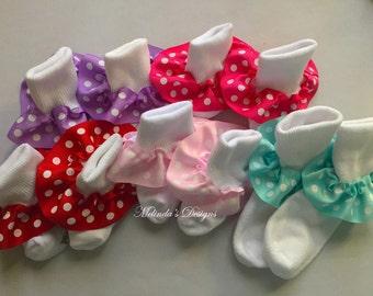 Little Girl's Socks Baby Socks Patriotic Socks Ruffled Socks Toddler Socks Minnie Mouse Socks Girl's Socks Infant Socks Newborn Socks