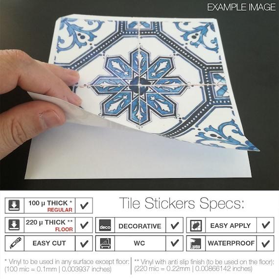 Bleucoin Tile Decal Backsplash: Tile Stickers Tile Decals Backsplash Tile Vintage Blue