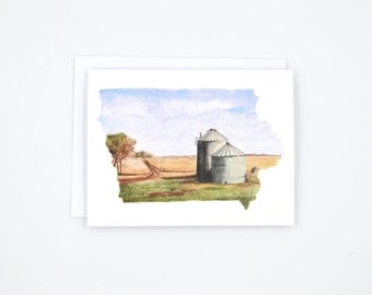 Iowa State Card - Watercolor Notecard - Unique Notecard - Iowa Notecard - Blank Notecards - Iowa Landscape - Iowa Art - Iowa Gift