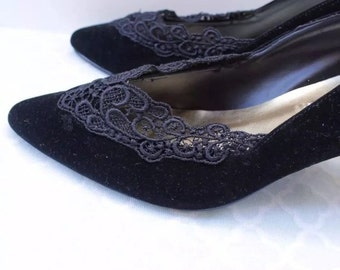 New Year Discount 20% off site-wide! DISCOUNT* Stunning One-Off Cinderella Black Lace Pumps 1940s Style Size 8.5-9