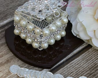 NEW!! Silver Wedding Arras with Pearls, Wedding Ring Box, Unity Coins, Treasurer Chest Wedding Arras, Silver Wedding Arras, Wedding Gift