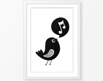 Bird black and white illustration,kids wall art,playroom decor,digital file,monochromatic poster,baby poster,nursery decor,kids room decor