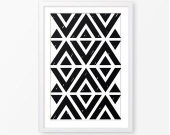 Black and white poster,geometric poster,monochromatic,kids room decor,kids geometric print,digital print,instant download,nursery print