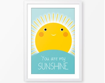 You are my sunshine,kids poster,children wall art,kids quote,baby poster,nursery poster,nursery decor,kids room decor,instant download