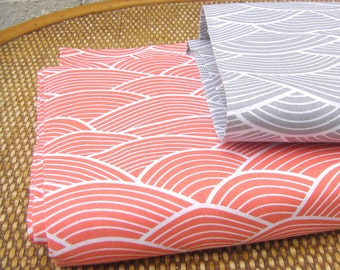 100% Cotton Fabric -  Japanese waves 2 colors   - Grey&White Orange -White  Fabric Curtain Fabric -  by the   Fat Quarter Half Metre Metre