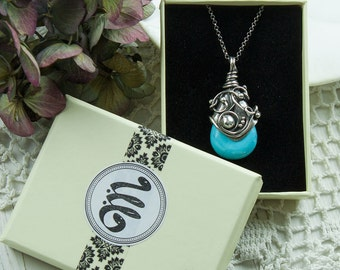 Teleana -fine and sterling silver necklace, with turqiuse drop, wire wrapping, metalsmith, handcrafted, blue, rustic, vintage, gift for her
