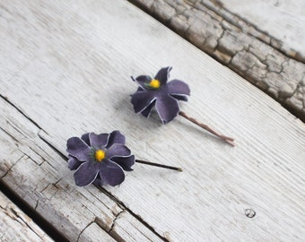 Bridal Hair Pins, Wedding Hairpins, purple flower Hair Pins, flower Bobby Pins, Hair Pins - Set of 2 , fairy dress up, flower hair pins