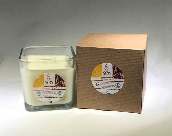 Featured listing image: Citrus Spice Soy Candle Handmade 10oz, NEW SCENT, Vegan, Koscher Certified Soy