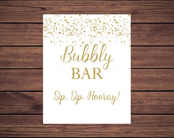 Bubbly Bar Sign, Gold Mimosa Bar Sign, Sip Sip Hooray Gold Confetti Bubbly Bar Sign, Gold Dots Instant Download PDF Printable
