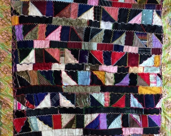 """Sale! Antique Crazy Quilt 1900s // Mostly Silk Fabrics with Hand Embroidered Seams//  33"""" x 30"""" 40"""" diag. VERY Collectible"""
