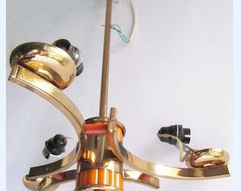 VINTAGE art deco brass phonelic butterscotch catalin bakelite chandelier lamp light