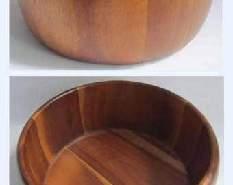 Vintage Wooden Solid Staved Wood Fruit Salad Bowl Large Mid Century 70s G plan