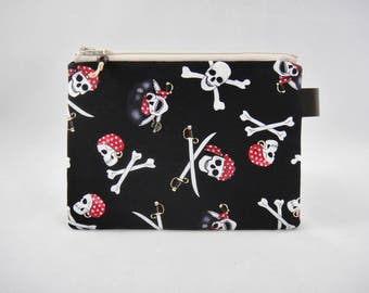 Pirates zipper pouch, Coin purse, Small pouch, Smart phone pouch, Black