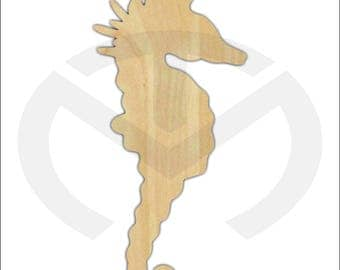Unfinished Wood Seahorse Door Hanger Laser Cutout, Home Decor, Various Sizes, Nautical, Ocean