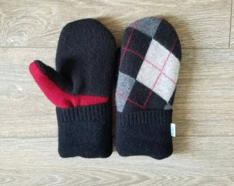 Red and Black Argyle Cashmere Mittens //LoveWoolies Mittens //Fleece Lined // Upcycled Sweater