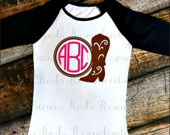 Ladies|Girls|Baby Girls- Cowgirl Boot Monogram Raglan- Gift - Monogram- Cowgirl