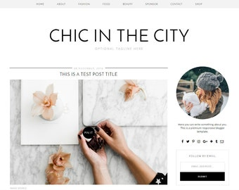 "Premade Blogger Template Responsive Design | Blog Theme ""Chic in the City"" 