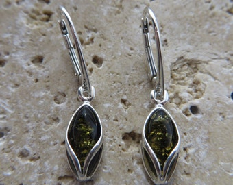 Genuine Baltic Green Amber Sterling Silver Earrings