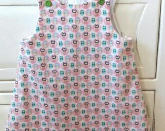 Baby dress, pinafore, girls dress, summer dress,  handmade dress, owls dress, owl.  Christening gift, naming day gift. Age 6 to 9 months.