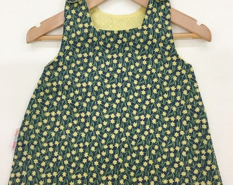 Daffodil Print Pinafore - 100% cotton, fully lined, girls pinafore dress, handmade to order in sizes 0-6m to 3-4 years